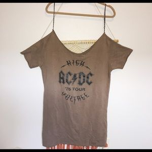 New Missguided Brown ACDC Off Shoulder T Shirt